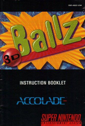 3D Ballz SNES Instruction Booklet (Super Nintendo Manual Only) (Super Nintendo Manual)