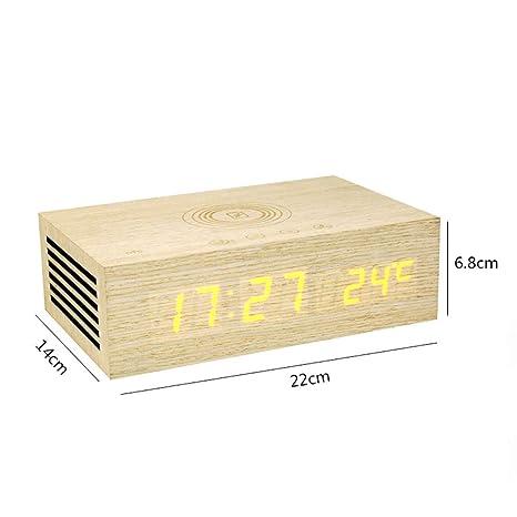 FPRW Reloj Despertador Digital de Madera, NFC Bluetooth ...