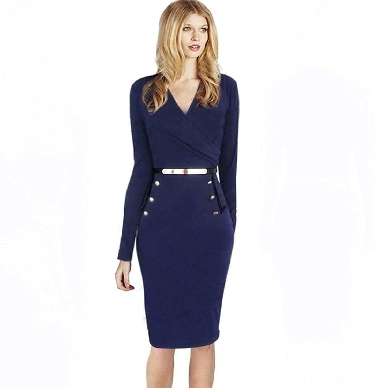 WintCO Women Dress Sexy V-Neck Long Sleeve Button Slim Waist Lady Dress