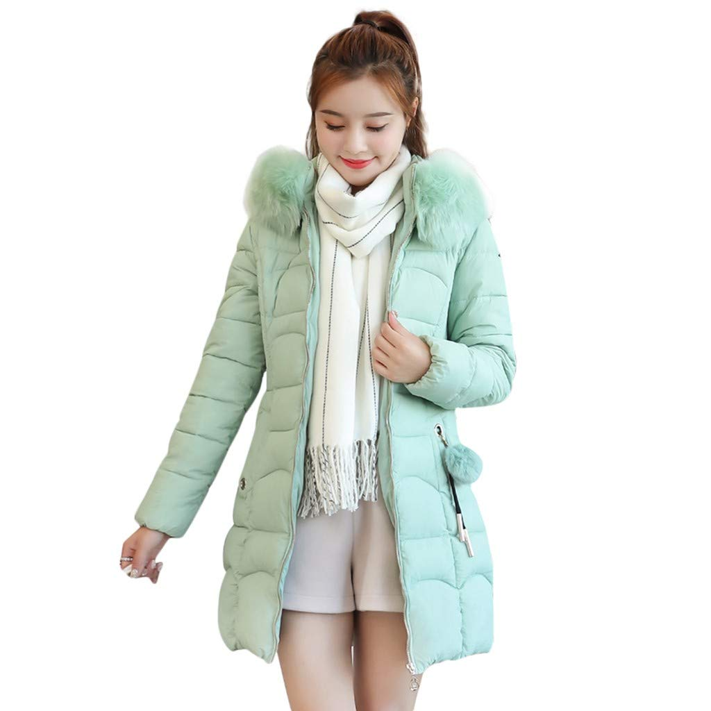Benficial Women Winter Warm Coat Hooded Thick Warm Loose Zipper Pocket Jacket Long Overcoat Green by Benficial