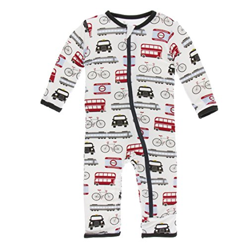 Kickee Pants Little Boys Print Coverall with Zipper - London Transport, 6-9 Months