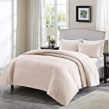 Comfort Spaces Kienna 3 Piece Quilt Coverlet Bedspread Ultra Soft Hypoallergenic Microfiber Stitched Bedding Set, King, Blush