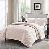 Comfort Spaces - Kienna Quilt Mini Set - 3 Piece - Blush - Stitched Quilt Pattern - King Size, Includes 1 Quilt, 2 Shams