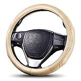 Steering Wheel,Car Steering Wheel Cover Pu Leather Genuine Leather, Breathable, Anti Slip & Odor Free,Four Seasons