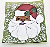 African-American Santa Cookie Christmas Decorative Platter Handcrafted Fused Glass