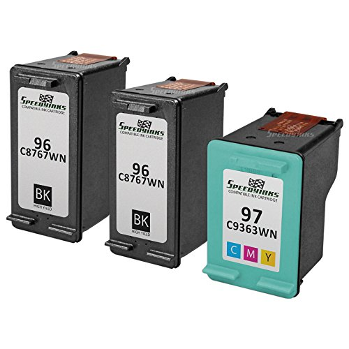 Speedy Inks - 3PK Remanufactured replacement for HP 96 C8767WN & HP 97 C9363WN Ink Cartridge Set: 2 Black & 1 Color