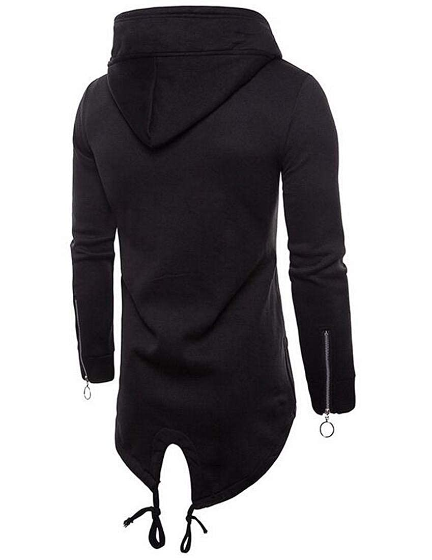 SELX Men Long Sleeve Solid Zip up Outwear Hoodies Sweatshirts