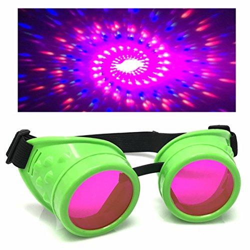 Uv Glow Dresses (UV Glow in The Dark Steampunk Rave Goggles Diffraction Retro Round Glasses Neon)