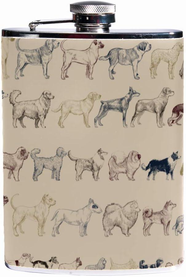 Auslaufsicherer Schnaps Flachmann 7,6 Unzen Flagon Mug Lederbezug mit Illustration Zeichnung Stil Hund Tasche Container f/ür diskreten Schuss Trinken von Alkohol