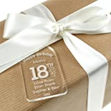 Personalised 18th Birthday Acrylic Gift Tag for a girl, 18th birthday gift tag,