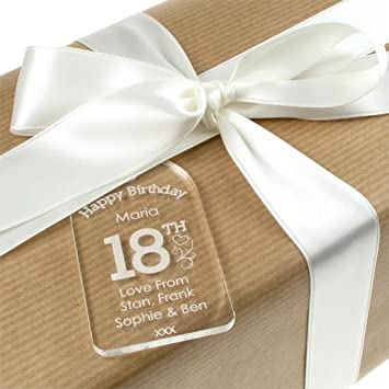 Personalised 18th Birthday Acrylic Gift Tag For A Girl