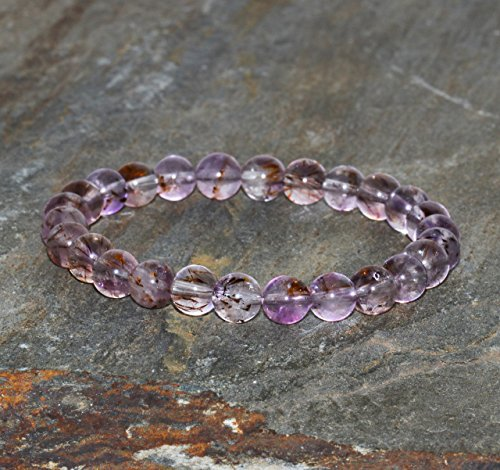 Cacoxenite Bracelet Handmade Grade A+ 7mm Exquisite Cacoxenite In Transparent Amethyst Beaded Gemstone Bracelet Stack Bracelet Gift Bracelet
