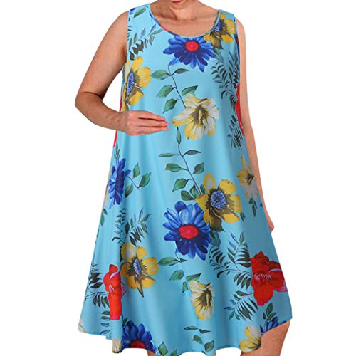 Qingell Summer Beach Dresses for Women Tshirt Sundresses Boho Casual Sleeveless Floral Shift Pockets Swing Loose Damask Light Blue