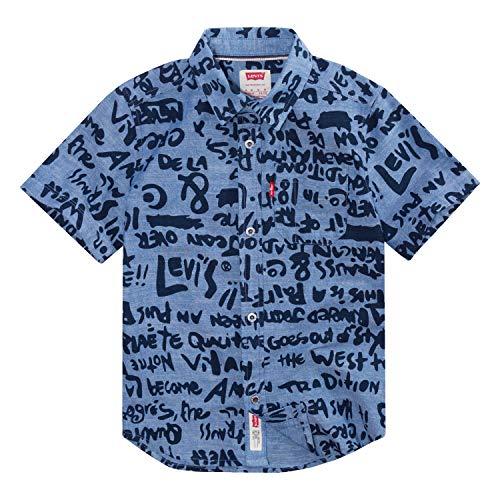 Levi's Boys' Toddler Short Sleeve Button Up Shirt, Chambray Graffi, 2T