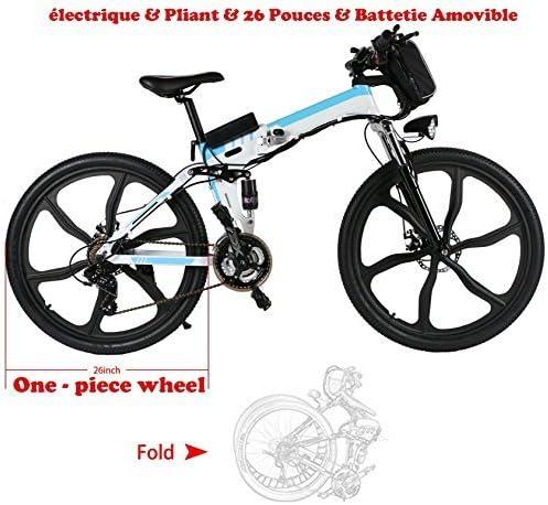 aceshin Bicicleta eléctrica de montaña, para Hombre, Plegable, 26 ...