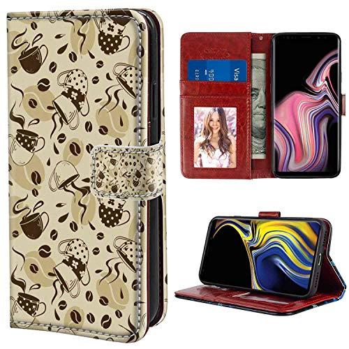 Modern Modern Coffee Cups with Polka Dots and Beans Roasted Stylish Graphic Design Cream and Brown Leather Wallet Case Fit Galaxy Note 9 for Girls Case