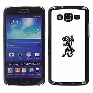 Caucho caso de Shell duro de la cubierta de accesorios de protección BY RAYDREAMMM - Samsung Galaxy Grand 2 SM-G7102 SM-G7105 - Monster Tattoo Ink Decal White