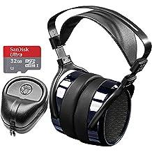 Hifiman HE400i Special Edition Over Ear Full-Size Planar Magnetic Headphones (Dark Blue Chrome) Includes Slappa Headphone Case & SanDisk 32GB MicroSD Memory Bundle