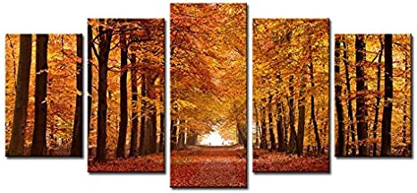 Amazon Com Wieco Art Autumn Forest Large Modern 5 Panels Gallery Wrapped Giclee Canvas Print Landscape Pictures Paintings On Canvas Wall Art Work Ready To Hang For Living Room Home Office Decor L
