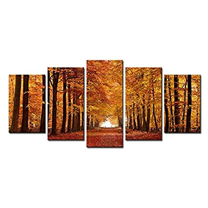 Wieco Art Autumn Forest Large Modern  Panels Gallery Wrapped Giclee Canvas Print Landscape Pictures Paintings