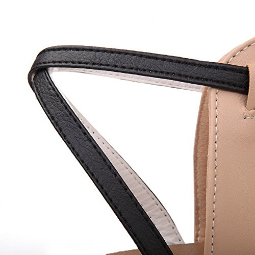 AalarDom Womens Toe Sandals Heels Low Open apricot Solid Or1qnPOz
