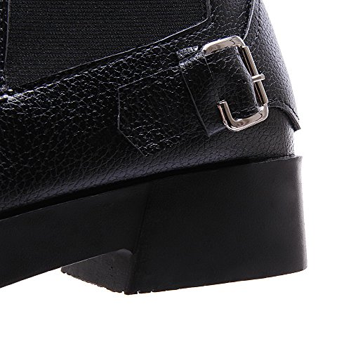 Low Black top Low Womens Pull AllhqFashion Soft Boots Solid Material on Heels 7wfxanq