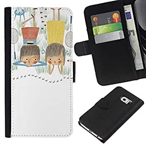 Leather Etui en cuir || Samsung Galaxy S6 EDGE || Hand Drawn Art Dibujo Kid Madre @XPTECH