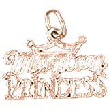 14K Rose Gold Mexican Princess Pendant Necklace - 15 mm