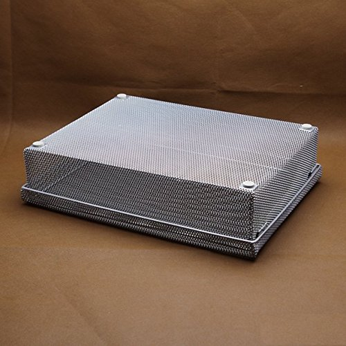 Chris.W Large Mesh Workstation Legal Size Desktop Letter Tray Paper Organizer File Basket Office Supplies Holder Collection with Lid, Silver