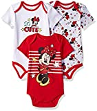 Disney Baby Girls' Minnie Mouse 3 Pack Bodysuits, Multi/red, 18M