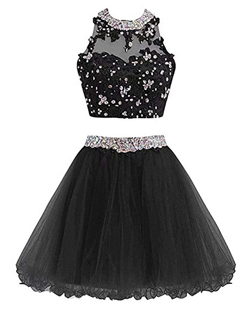 Blackb Ubride 2019 Juniors' Short Two Pieces Beaded Halter Prom Homecoming Dress Cocktail Gown