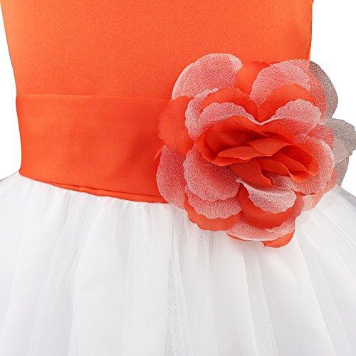 Tiaobug Fille Pétales De Fleurs Tutu Arc Robe De Mariage Formel Reconstitution Historique Nuptiale D'orange