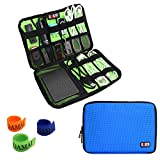 (US) BUBM Universal Cable Organizer Electronics Accessories Case USB Drive Shuttle with Cable Tie (Medium-Blue)