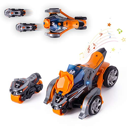 Thedttoy Pull Back Vehicles 2 in 1 Pull Back Cars Toys Quad Motorcycles 1:32 Scale Catapult Motorcycles with Cool Lights and Sound Best Cars Toys Gift Cool Present for Boy Birthday,Orange …