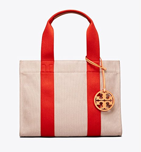 TORY BURCH(トリーバーチ) MILLER CANVAS TOTE キャンバス トート バッグ A4収納可能 46428 [並行輸入品] B07DK1HYPR Natural / Natural Vachetta / Poppy Red Natural / Natural Vachetta / Poppy Red