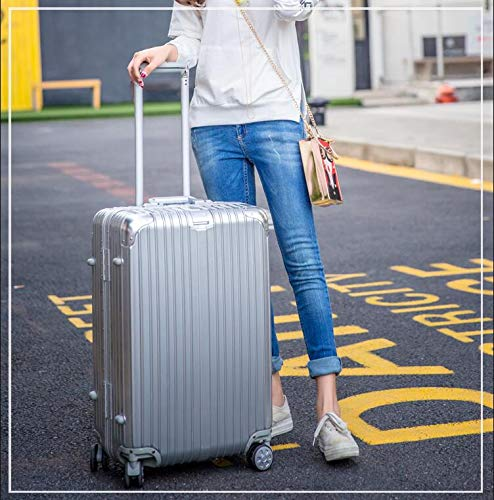 Carrying Luggage Trolley Case 20//22//24 Inch Color : Silver, Size : 28 Huijunwenti Hard Spinning Suitcase Travel Organizer Silver The Latest Style Simple Best Gift