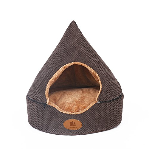 Dog Cave Cuddle Dog Bed, Soft Dog House, Two Modes, Pet Bed, Dog Beds for Small Dogs, Completely Washable, Brown, Small ()