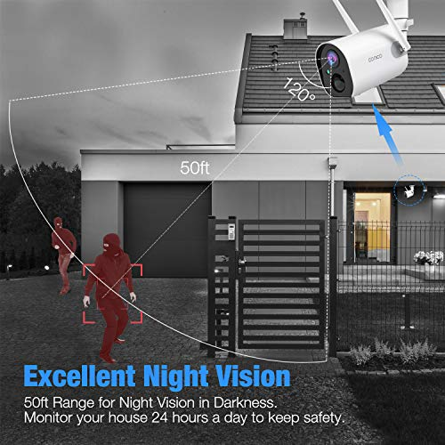 Conico Outdoor Security Camera, Wireless Rechargeable Battery Powered Camera 10400mAh, 1080P WiFi Surveillance Camera for Home with Night Vision, Two Way Audio, PIR Motion Detection, IP65 Waterproof