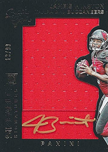 JAMEIS WINSTON 2015 Panini Black Gold Football SIZEABLE SIGNATURES (Rookie Patch Autograph) Tampa Bay Buccaneers Game-Used Jersey Relic Gold Parallel NFL Football Trading Card #13/99