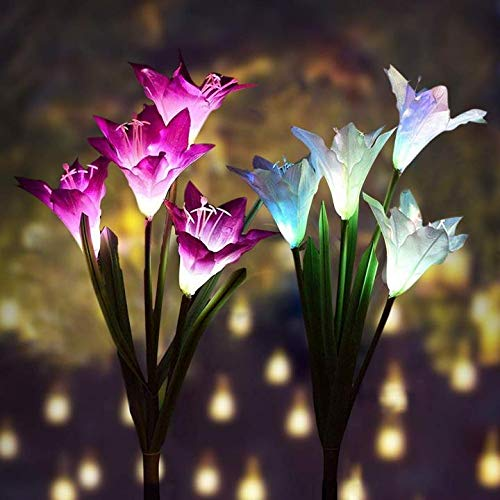 Outdoor Solar Garden Stake Lights - Premium 2 Pack Solar Powered Lights with 8 Lily Flowers, Multi-Color Changing LED Solar Decorative Lights for Garden, Patio, Backyard Decorations (Purple and White)