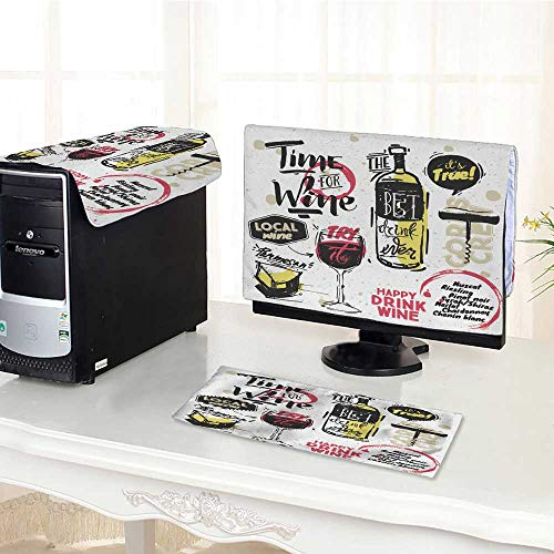 - UHOO2018 One Machine LCD Monitor Keyboard Cover Sketched Styled Wine Elements Wine Bottle Cheese Wine Bubbles Corkscrew White dust Cover 3 Pieces /22
