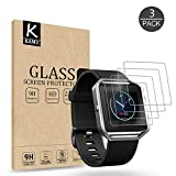 (3 PACK) KAMII Screen Protector Compatible with Fitbit Blaze, [Tempered Glass] [Anti-Scratch] [Bubble Free] Shatterproof Ultra Thin HD Clear 9H Hardness Anti-Scratch Easy Installation Screen Protector
