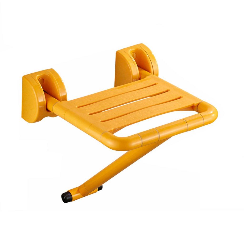 バスルーム折りたたみ式スツール旧式バスルームシャワールームノンスリップバスウォールチェアー障害者用椅子 (色 : イエロー いえろ゜) B07DFCDZJ7 イエロー いえろ゜ イエロー いえろ゜