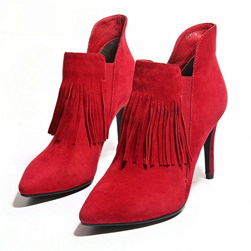 Heel Ankle Tassels High Red Foot Womens Boots Pointed Charm Fasion Toe TP4Rwq0
