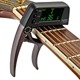Professional Guitar Capo Tuner,Loftstyle Chromatic Clip-on Tuner with Rotational Double Color Screen Light LCD Display Single-handed Guitar Capo Coffee Color