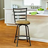 Mainstays 24'' Ladder Back Barstool with Tan Microfiber Swivel Stool, Hammered Bronze Finish (4)