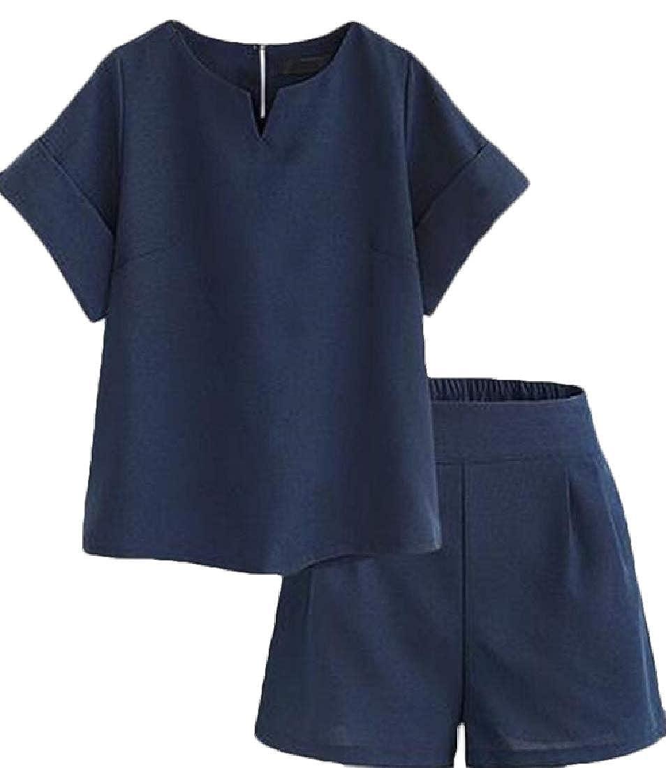 yibiyuan Womens Casual Short Sleeve Shirt and Shorts 2 Piece Outfits