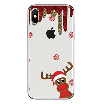 Freesiom Coque Iphone 7 8 Silicone Transparente Noël Motif Pere Noel