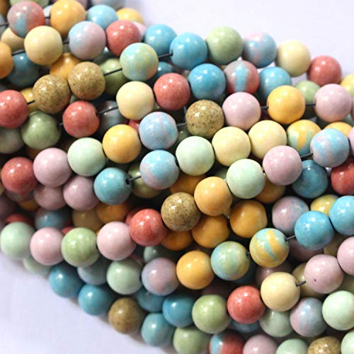 Tacool Natural Gemstone Beads Round 8mm 6mm for DIY Necklace Jewelry Making Beads (Rainbow Agate, Matte 6mm)