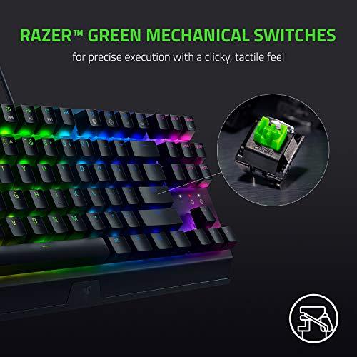 Teclado mecánico para juegos Razer BlackWidow V3 Tenkeyless: Interruptores mecánicos Razer - Iluminación Chroma RGB - Factor de forma compacto - Funcionalidad macro programable - Passthrough de USB
